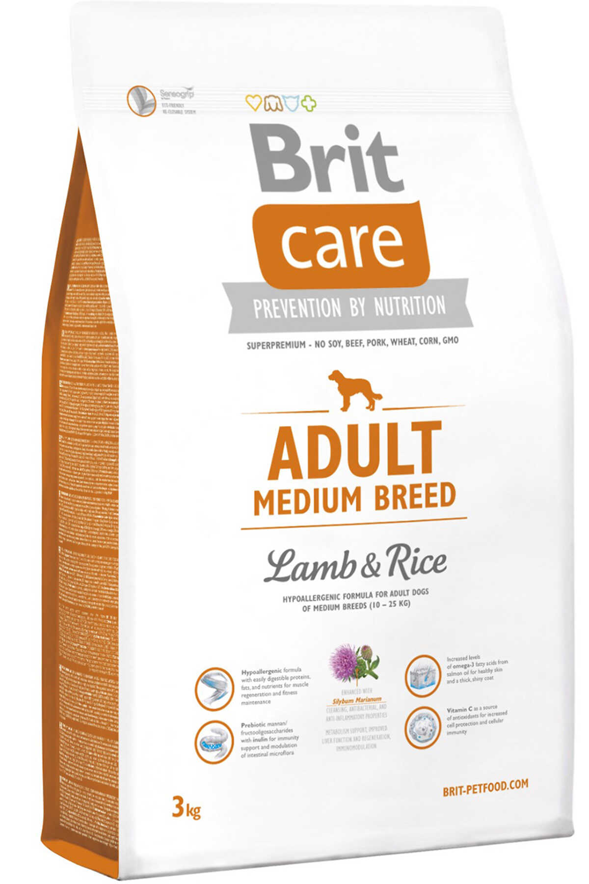 Brit Care Kuzu Eti ve Pirinçli Orta Irk Yetişkin Köpek Maması 3kg