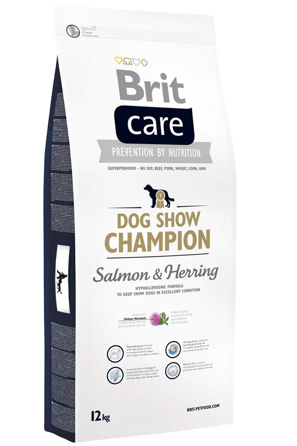 Brit Care Dog Show Champion Somon ve Ringa Balıklı Yetişkin Köpek Maması 12kg