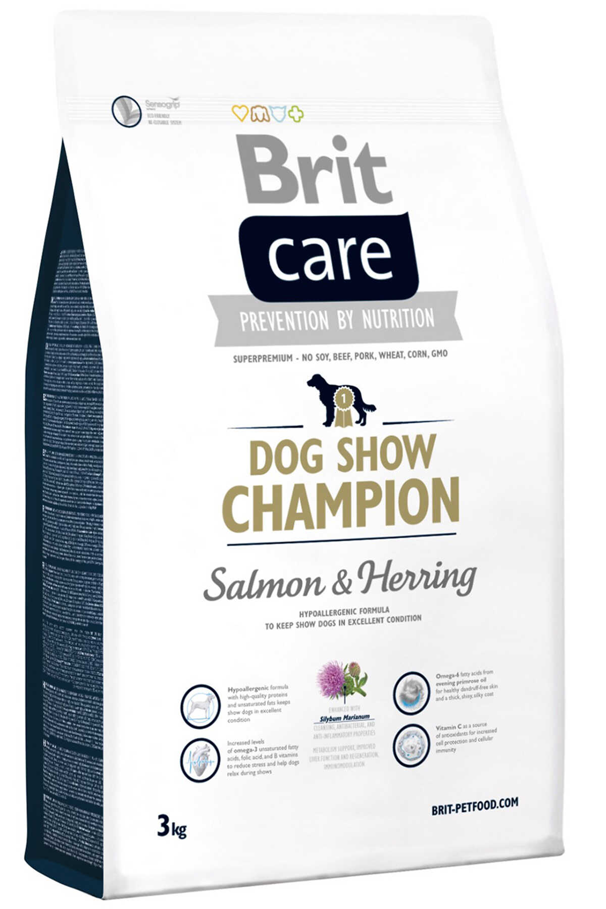 Brit Care Dog Show Champion Somon ve Ringa Balıklı Yetişkin Köpek Maması 3kg