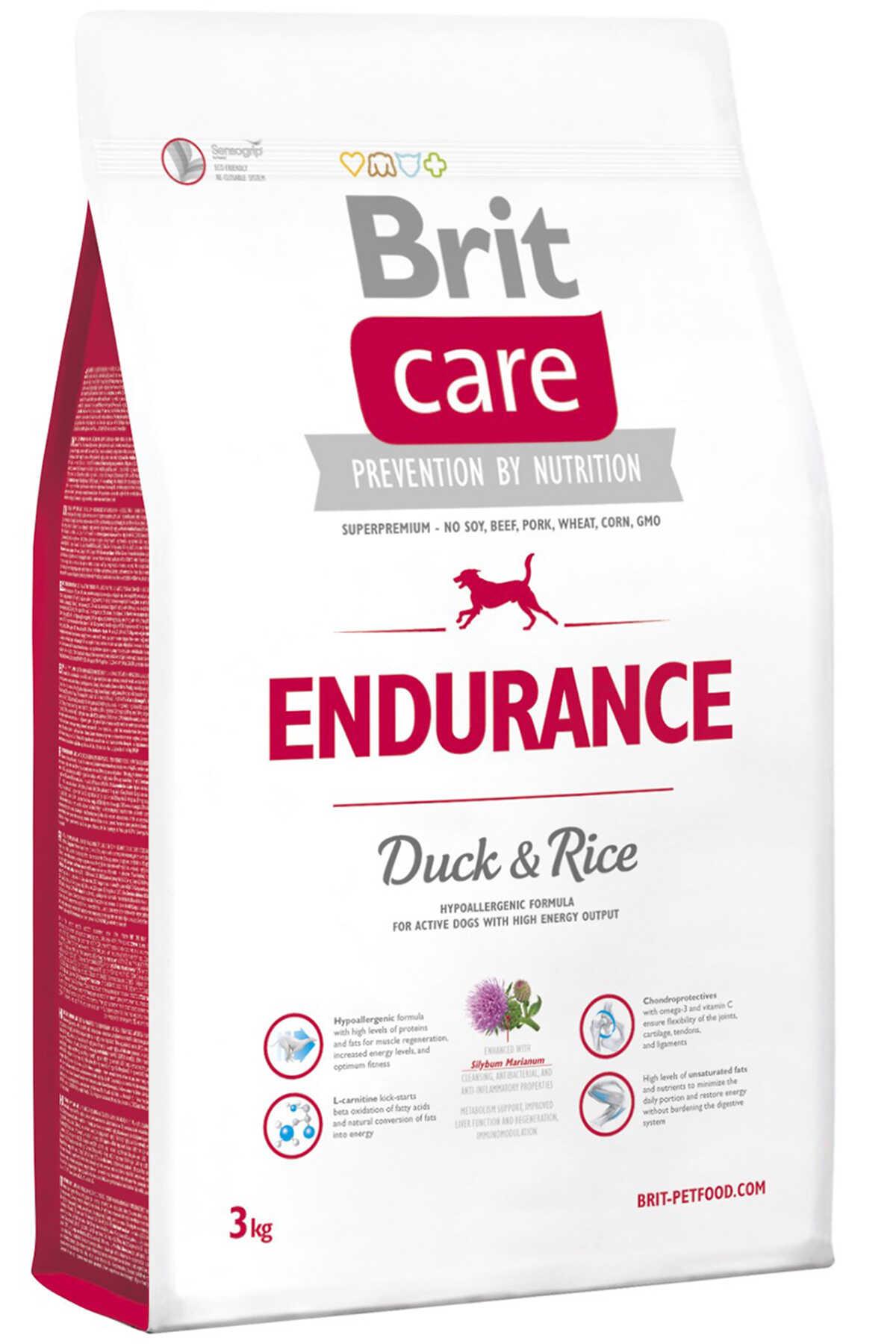Brit Care Endurance Ördek ve Pirinçli Hareketli Yetişkin Köpek Maması 3kg
