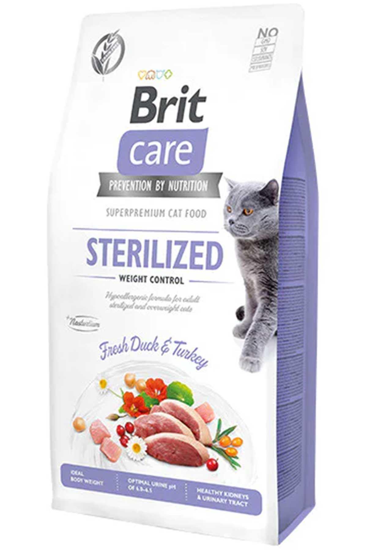 Brit Care Hypo-Allergenic Kilo Kontrolü için Ördekli Tahılsız Kısırlaştırılmış Kedi Maması 7kg