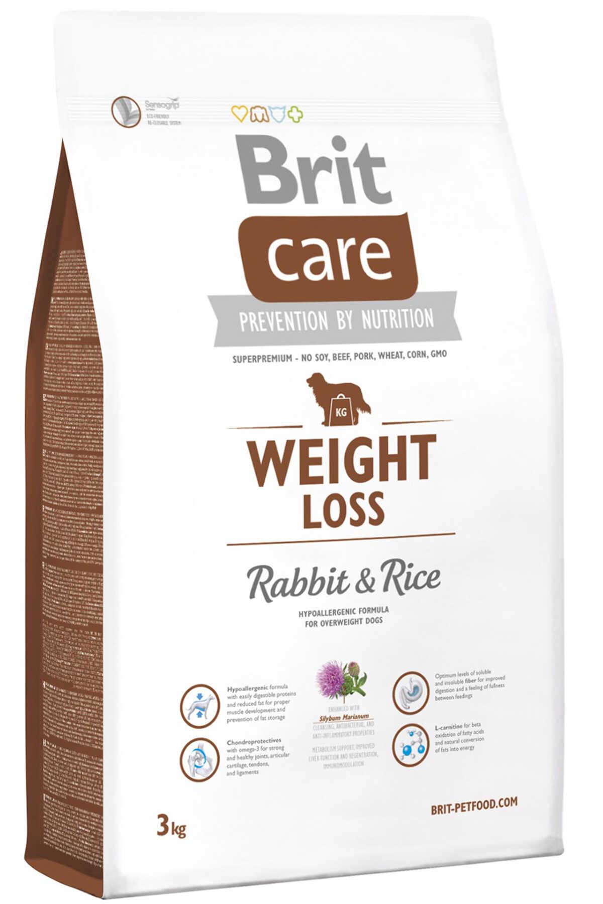 Brit Care Weight Loss Tavşan ve Pirinçli Kilolu Köpekler için Yetişkin Köpek Maması 3kg