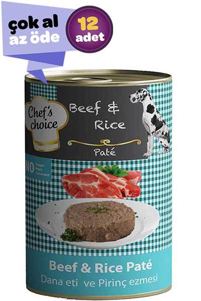 Chefs Choice Biftek ve Pirinçli Yetişkin Köpek Konservesi 12x400gr (12li)