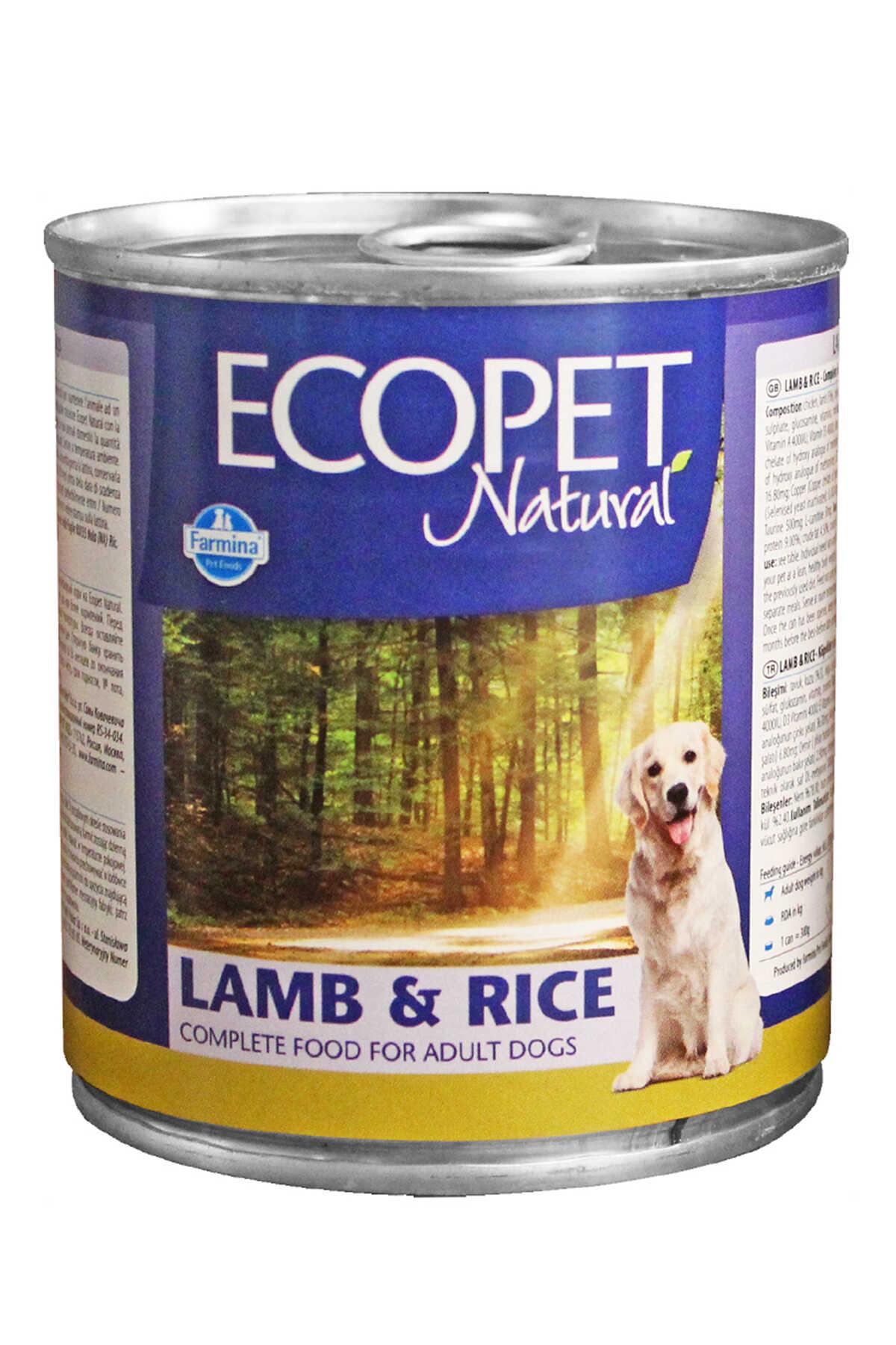 Ecopet Natural Kuzu Eti ve Pirinçli Yetişkin Köpek Konservesi 300gr