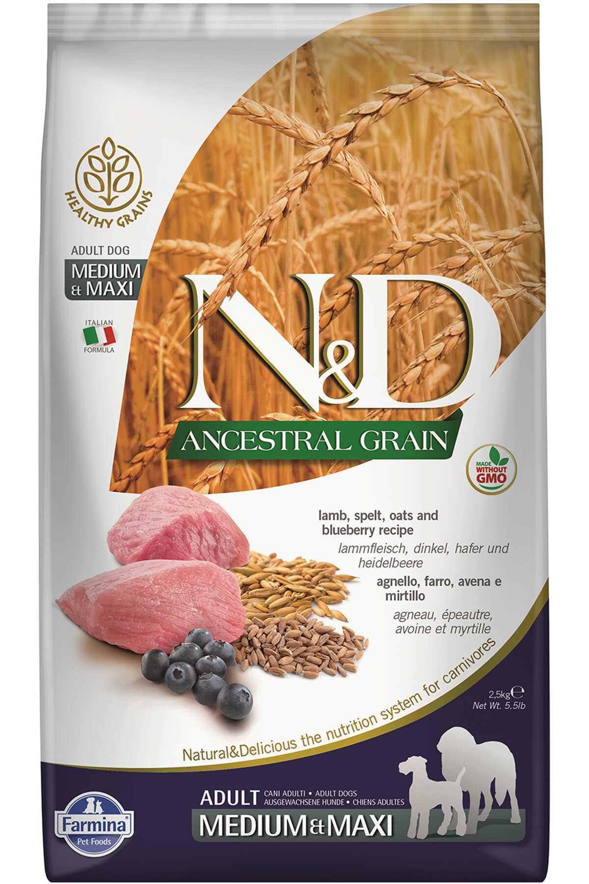 ND Ancestral Grain Düşük Tahıllı Kuzu Eli ve Yaban Mersinli Orta ve Büyük Irk Yetişkin Köpek Maması 2,5kg