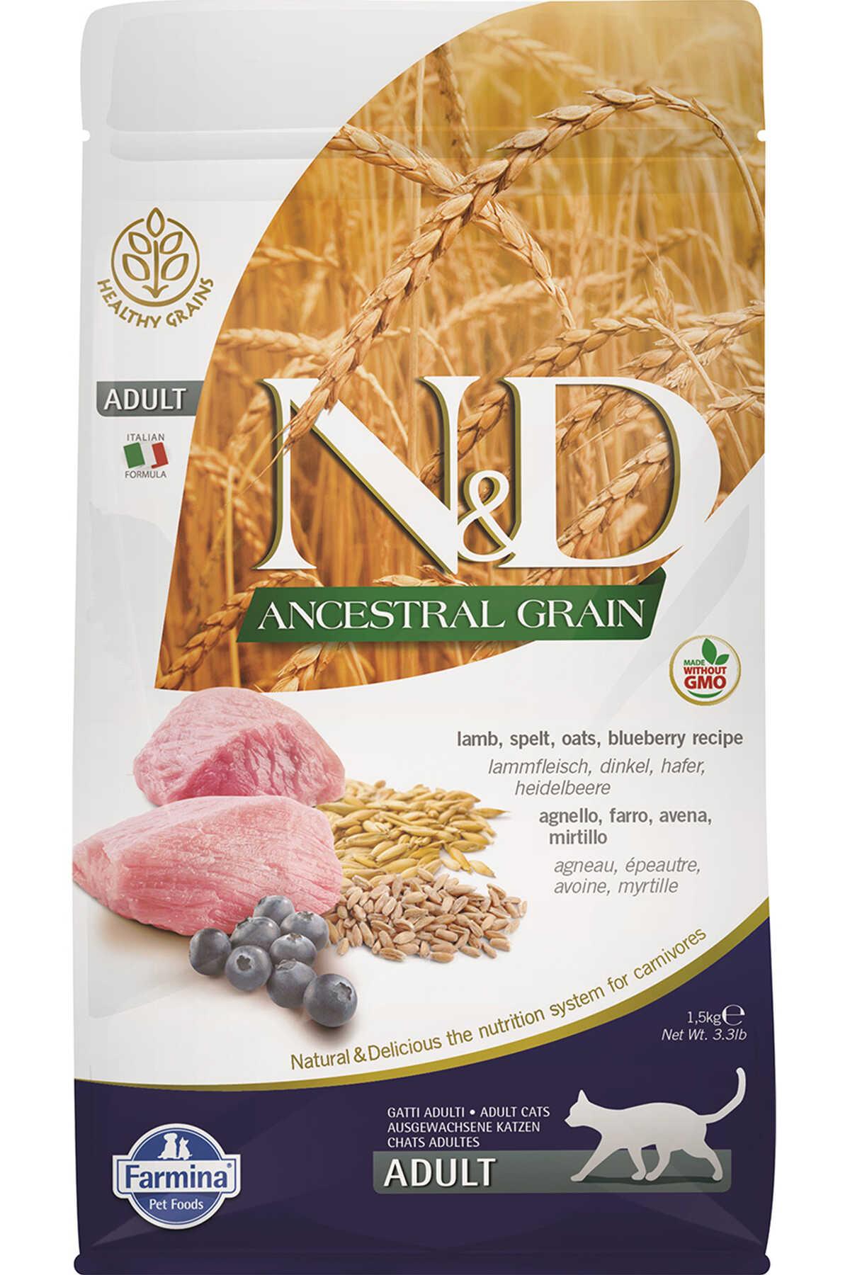 ND Ancestral Grain Düşük Tahıllı Kuzu Eti ve Yaban Mersinli Yetişkin Kedi Maması 1,5kg