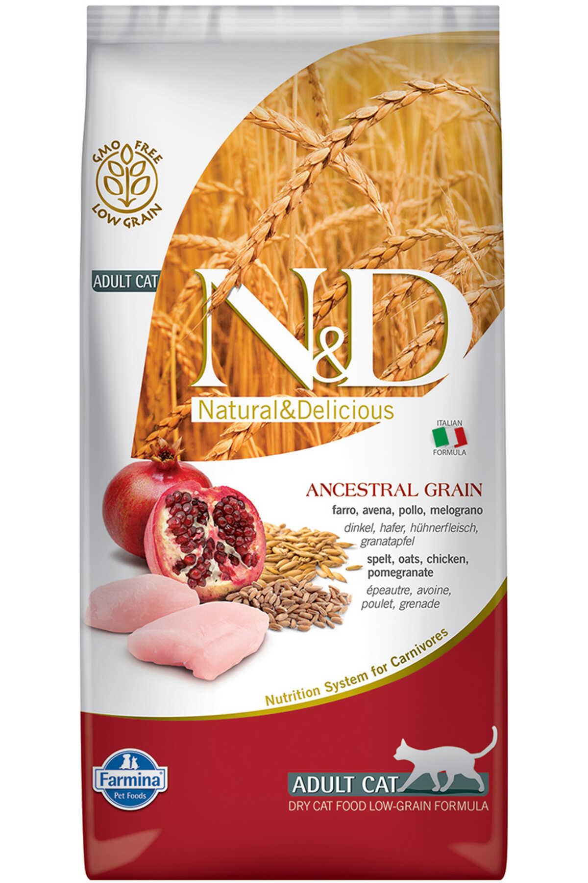 ND Ancestral Grain Düşük Tahıllı Tavuk ve Narlı Yetişkin Kedi Maması 5kg