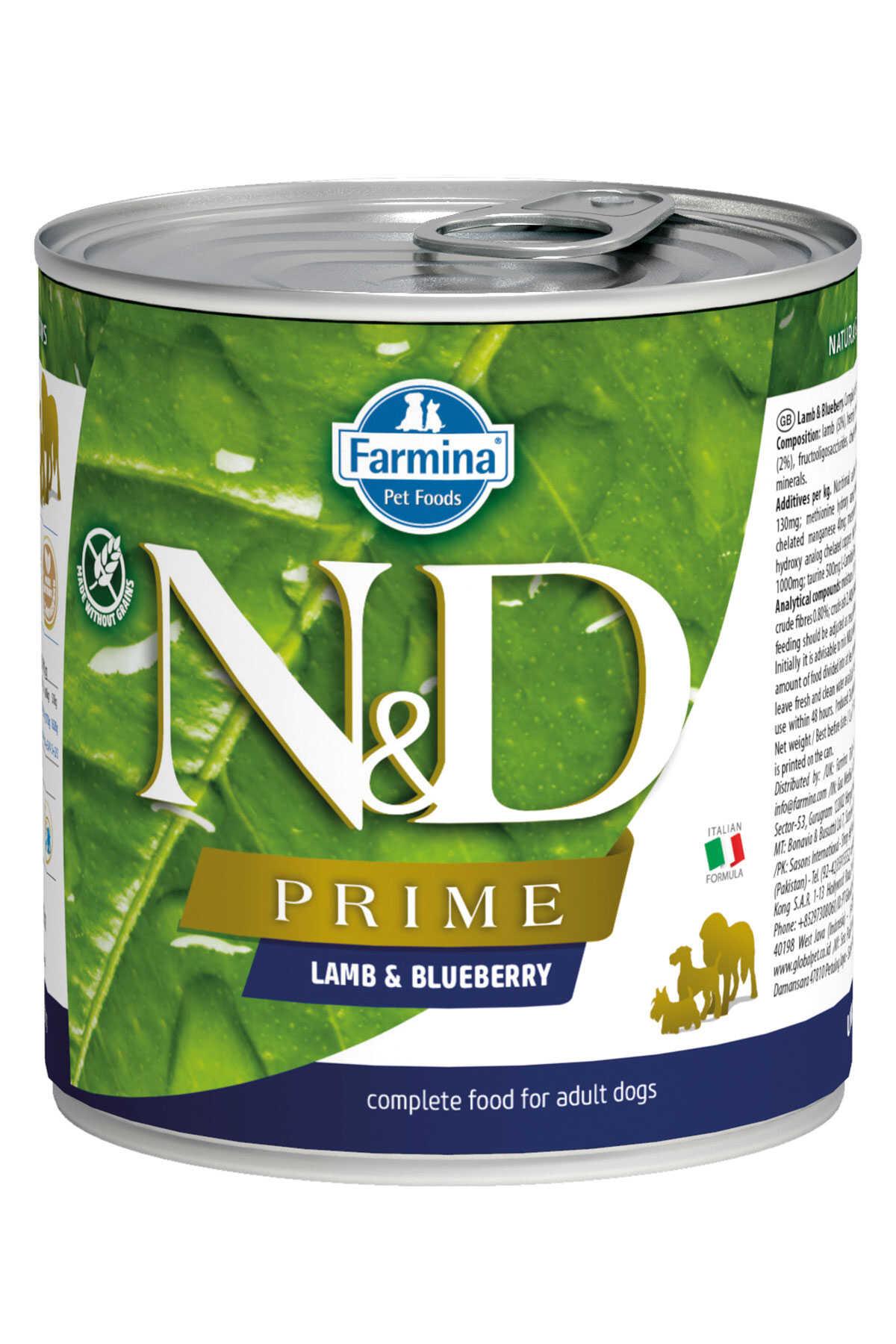 ND Prime Tahılsız Kuzu Eti ve Yaban Mersinli Yetişkin Köpek Konservesi 285gr