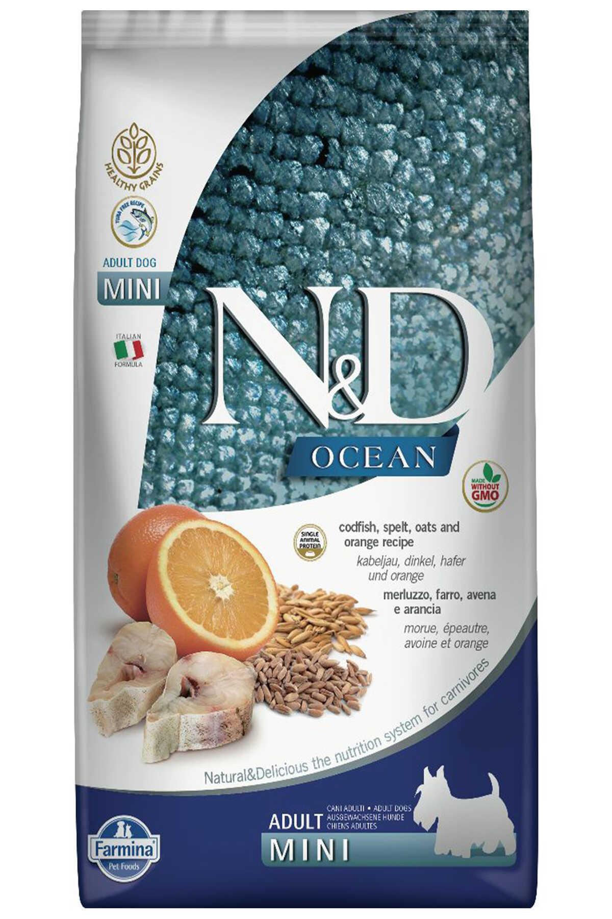 ND Ocean Düşük Tahıllı Morina Balığı ve Portakallı Küçük Irk Yetişkin Köpek Maması 7kg