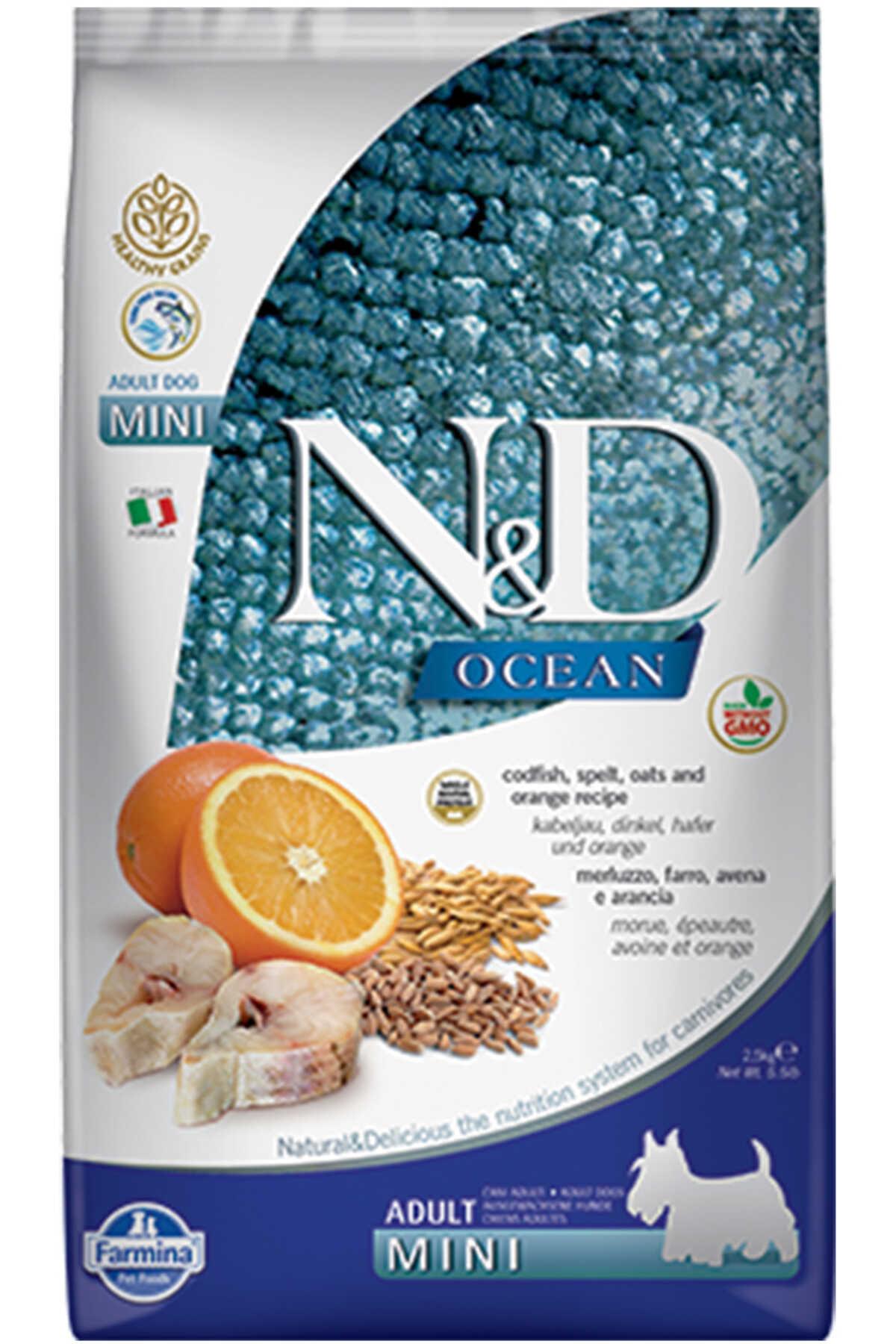 ND Ocean Düşük Tahıllı Morina Balığı ve Portakallı Küçük Irk Yetişkin Köpek Maması 2,5kg