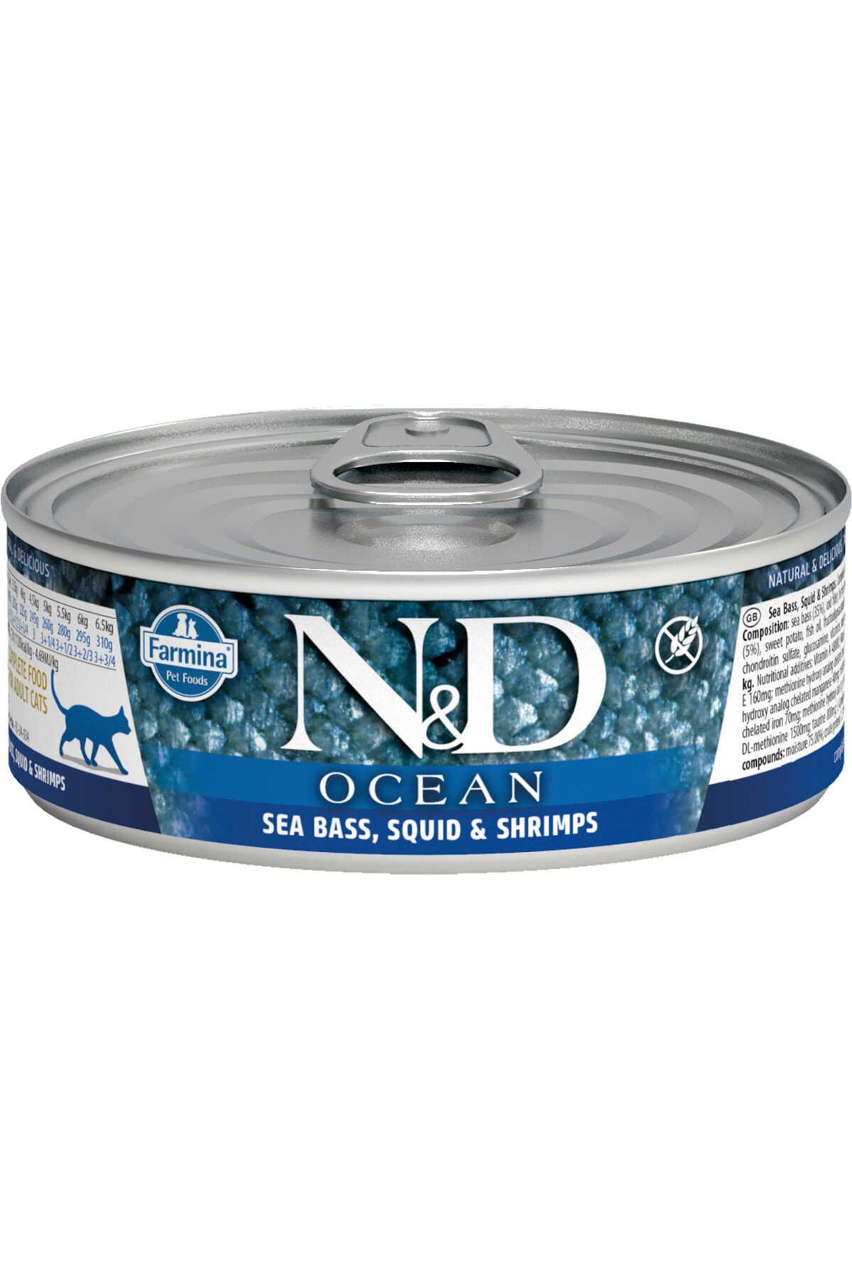 ND Ocean Tahılsız Levrek Mürekkep Balığı ve Karidesli Yetişkin Kedi Konservesi 80gr