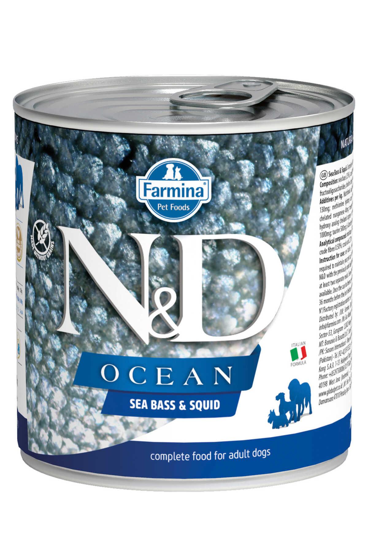 ND Ocean Tahılsız Levrek ve Mürekkep Balıklı Yetişkin Köpek Konservesi 285gr