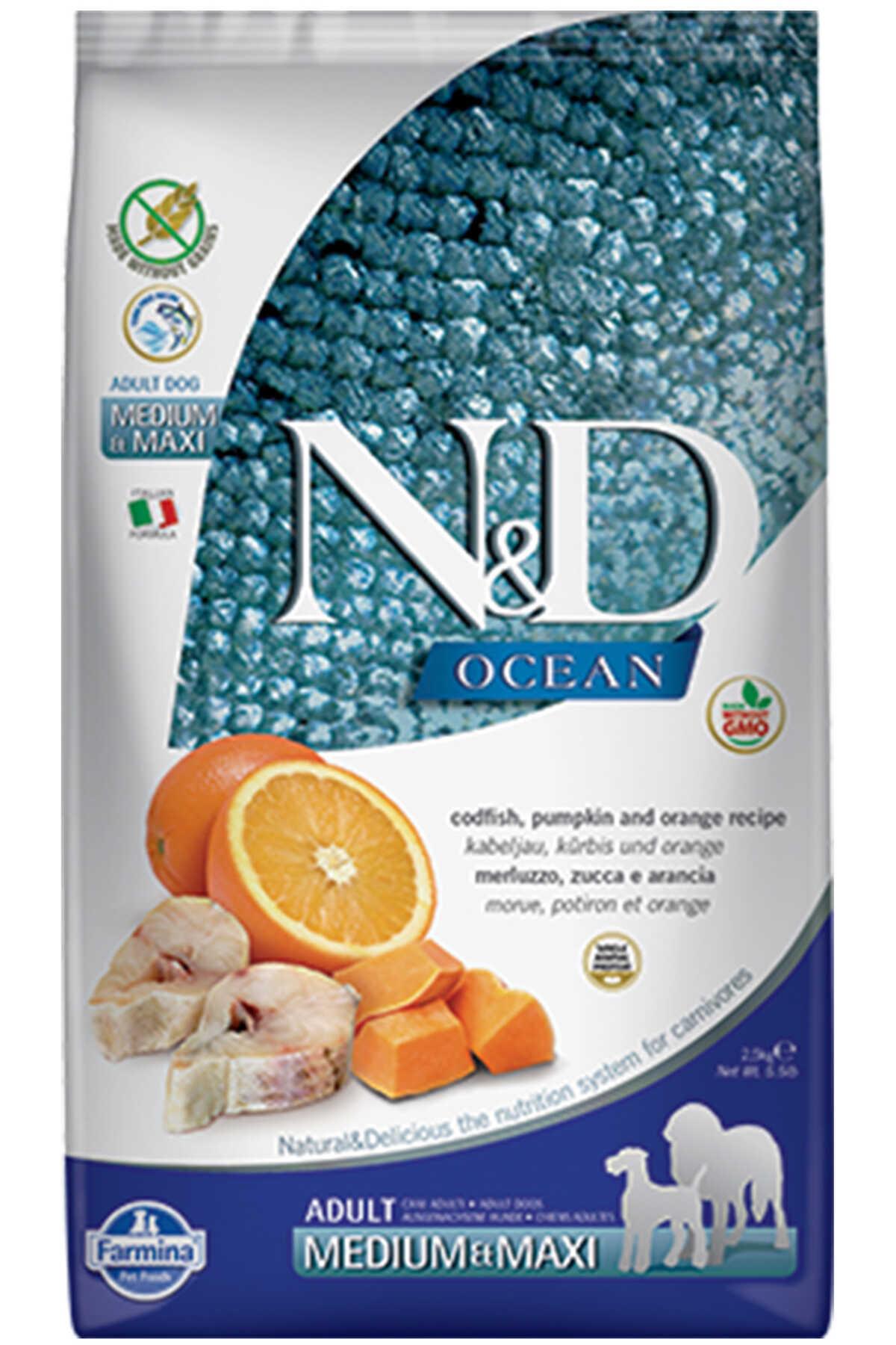 ND Ocean Tahılsız Morina Balığı Balkabağı ve Portakallı Orta ve Büyük Irk Köpek Maması 2,5kg
