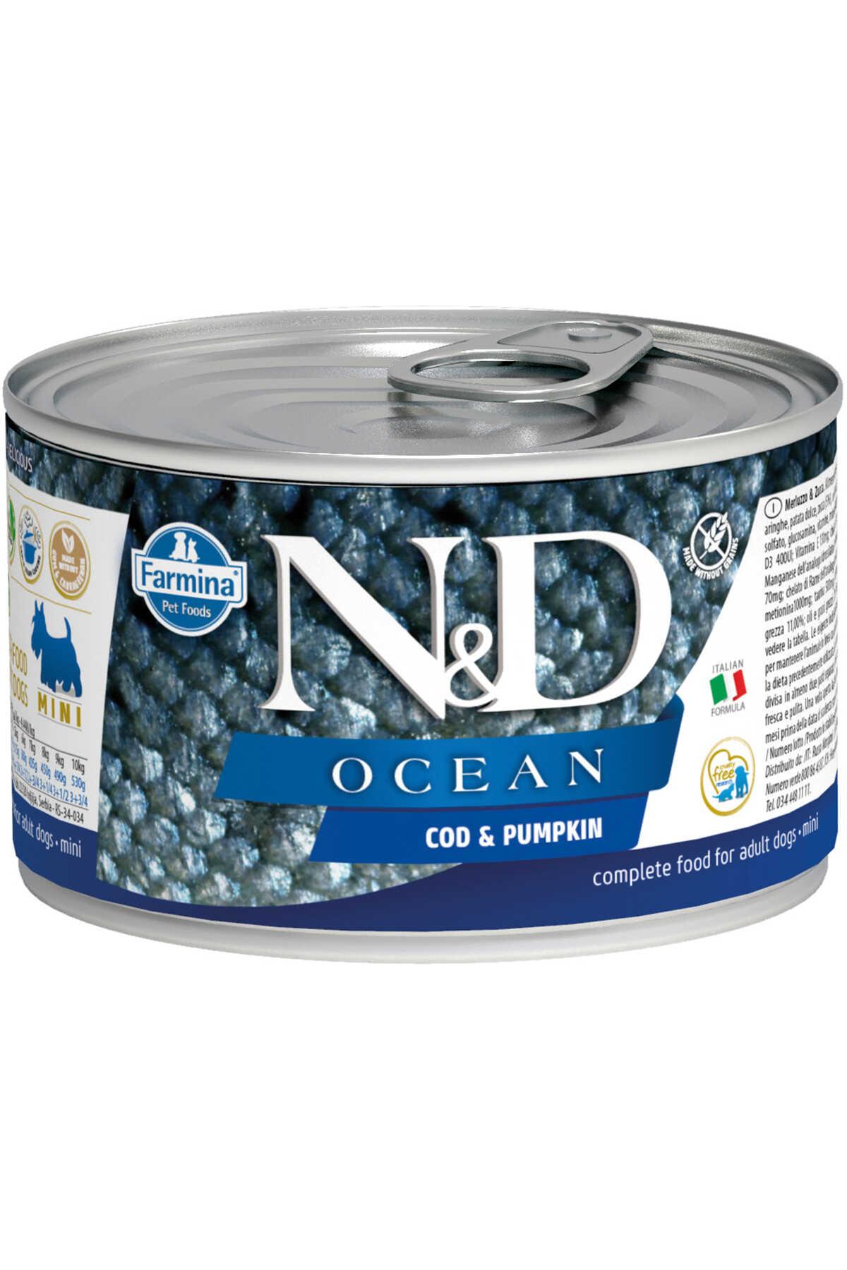 ND Ocean Tahılsız Morina Balığı ve Balkabaklı Yetişkin Köpek Konservesi 140gr
