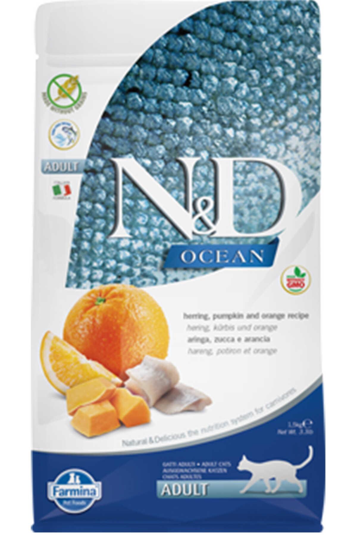 ND Ocean Tahılsız Ringa Balığı Balkabağı ve Portakallı Yetişkin Kedi Mamas 1,5kg