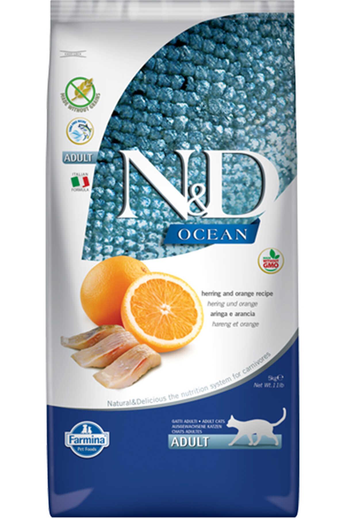 ND Ocean Tahılsız Ringa Balığı ve Portakallı Yetişkin Kedi Maması 5kg