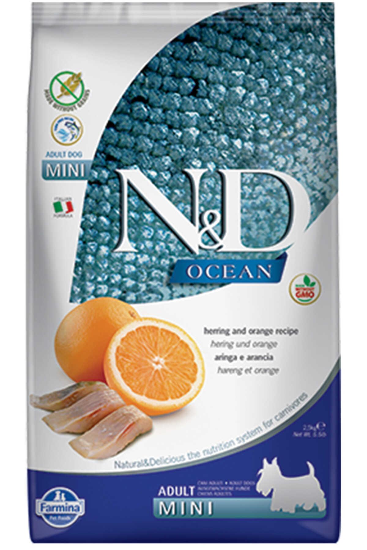 ND Ocean Tahılsız Ringa Balığı ve Portakallı Küçük Irk Yetişkin Köpek Maması 2,5kg