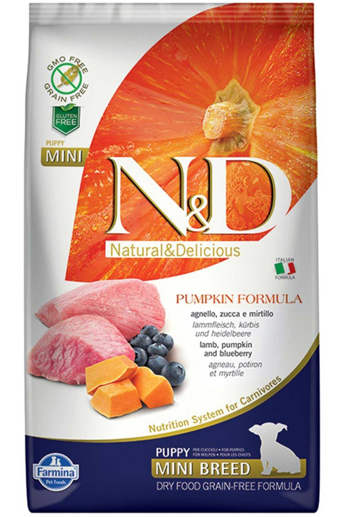 ND Pumpkin Tahılsız Kuzu Eti Balkabağı ve Yaban Mersinli Küçük Irk Yavru Köpek Maması 2,5kg