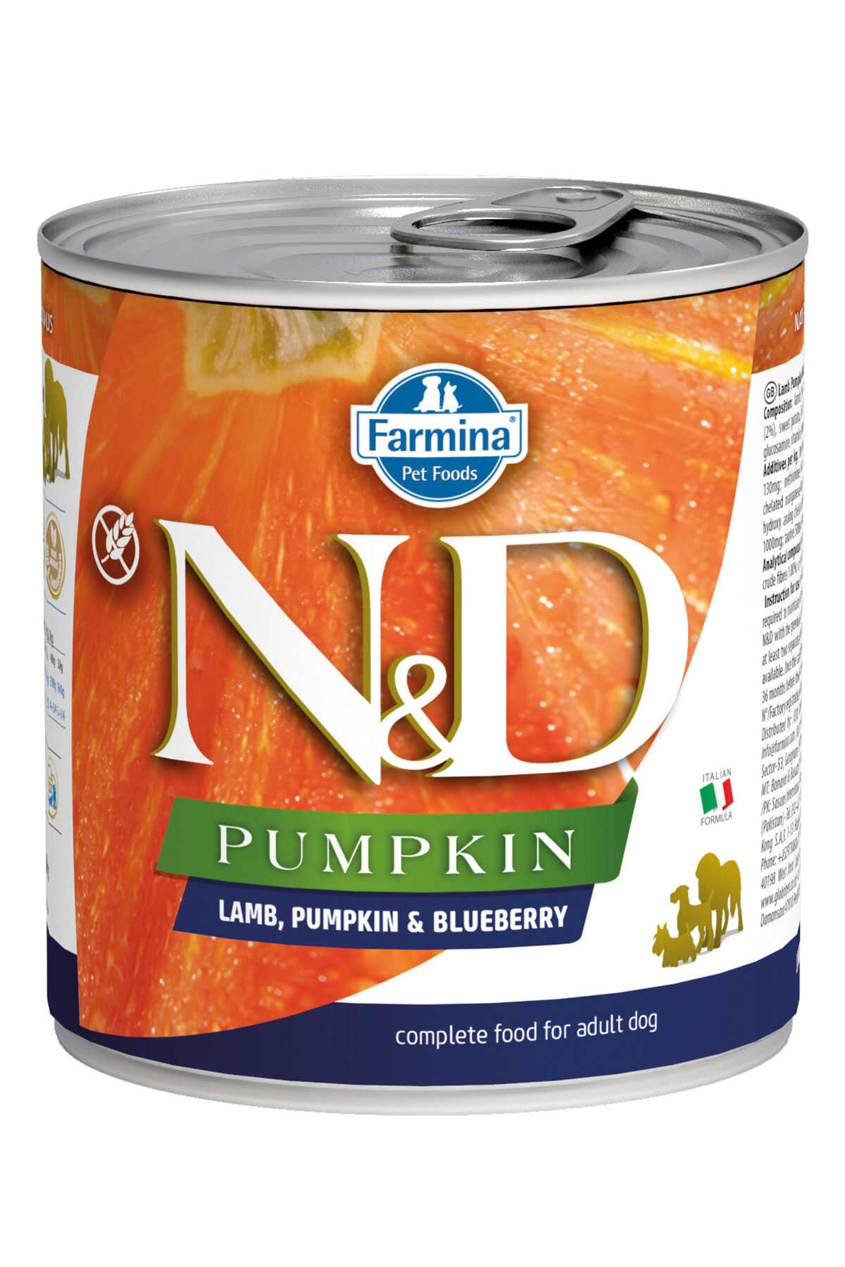 ND Pumpkin Tahılsız Kuzu Eti Balkabağı ve Yaban Mersinli Yetişkin Köpek Konservesi 285gr
