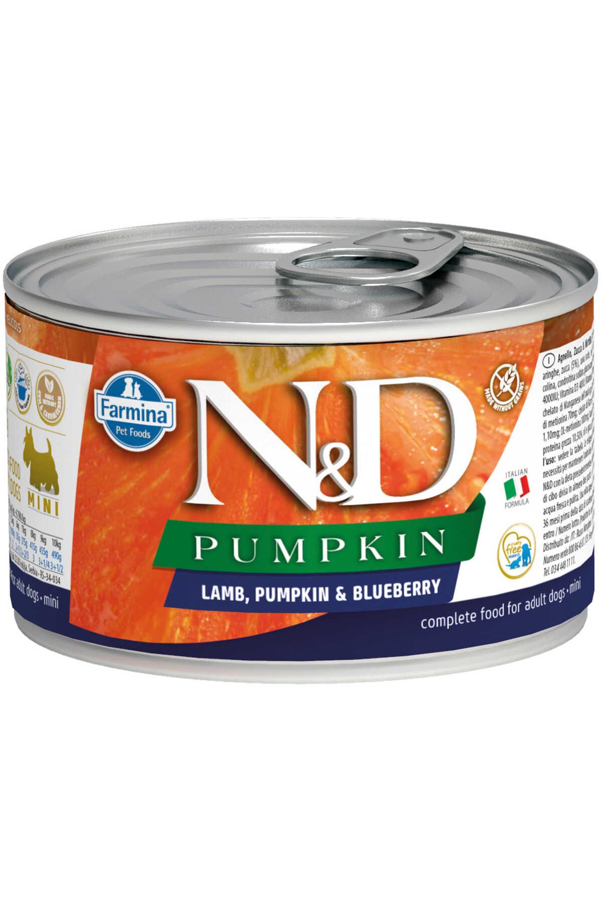 ND Pumpkin Tahılsız Kuzu Eti Balkabağı ve Yaban Mersinli Yetişkin Yetişkin Köpek Konservesi 140gr