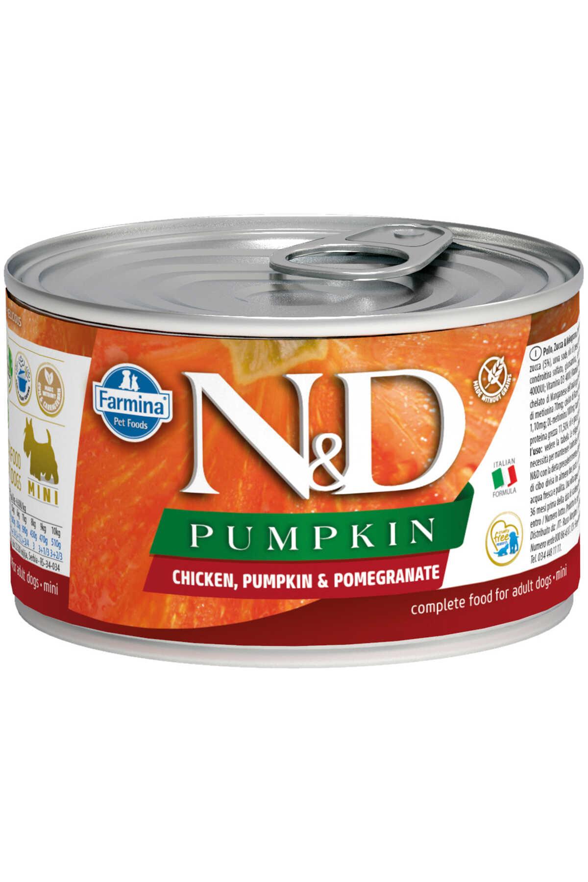 ND Pumpkin Tahılsız Tavuk Balkabağı ve Narlı Yetişkin Köpek Konservesi 140gr