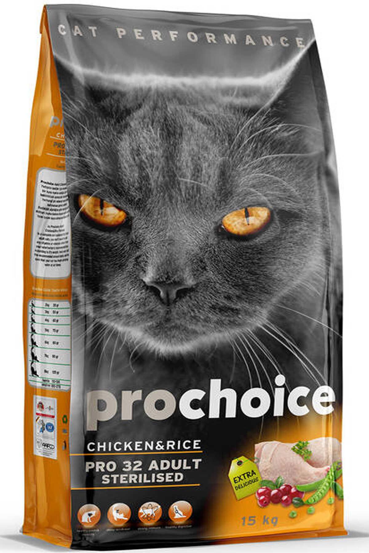 Pro Choice Pro 32 Tavuk ve Pirinçli Kısırlaştırılmış Kedi Maması 15kg
