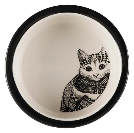 Trixie Kedi Seramik Mama Su Kabı Beyaz/Siyah - Thumbnail